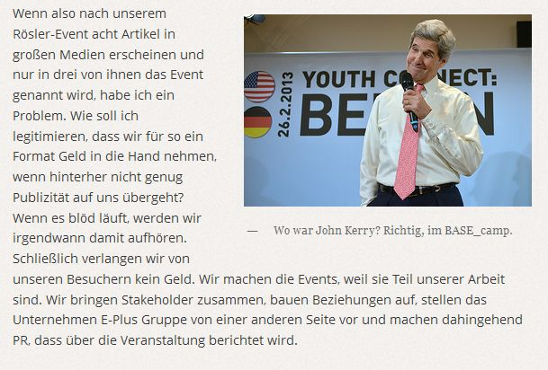Wie nennt man das, wenn John Kerry zu ePlus kommt? Richtig: Lobbyismus.